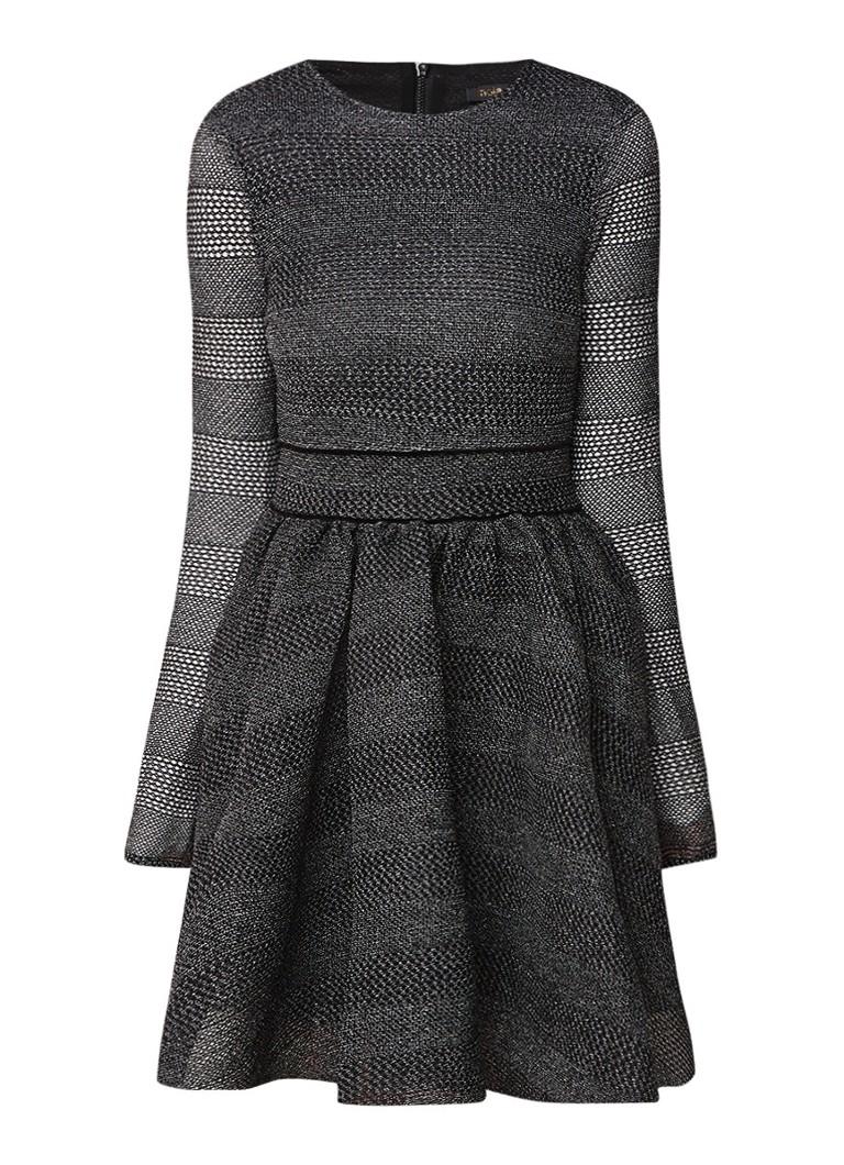 Maje Royale gemêleerde midi-jurk van mesh zwart