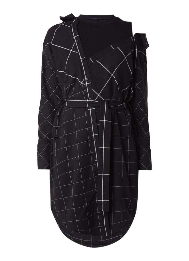 Maje Carreaux dubbellaagse blousejurk met ruitdessin zwart