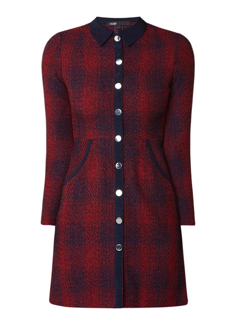Maje Renitia mini blousejurk van tweed met steekzakken bordeaux
