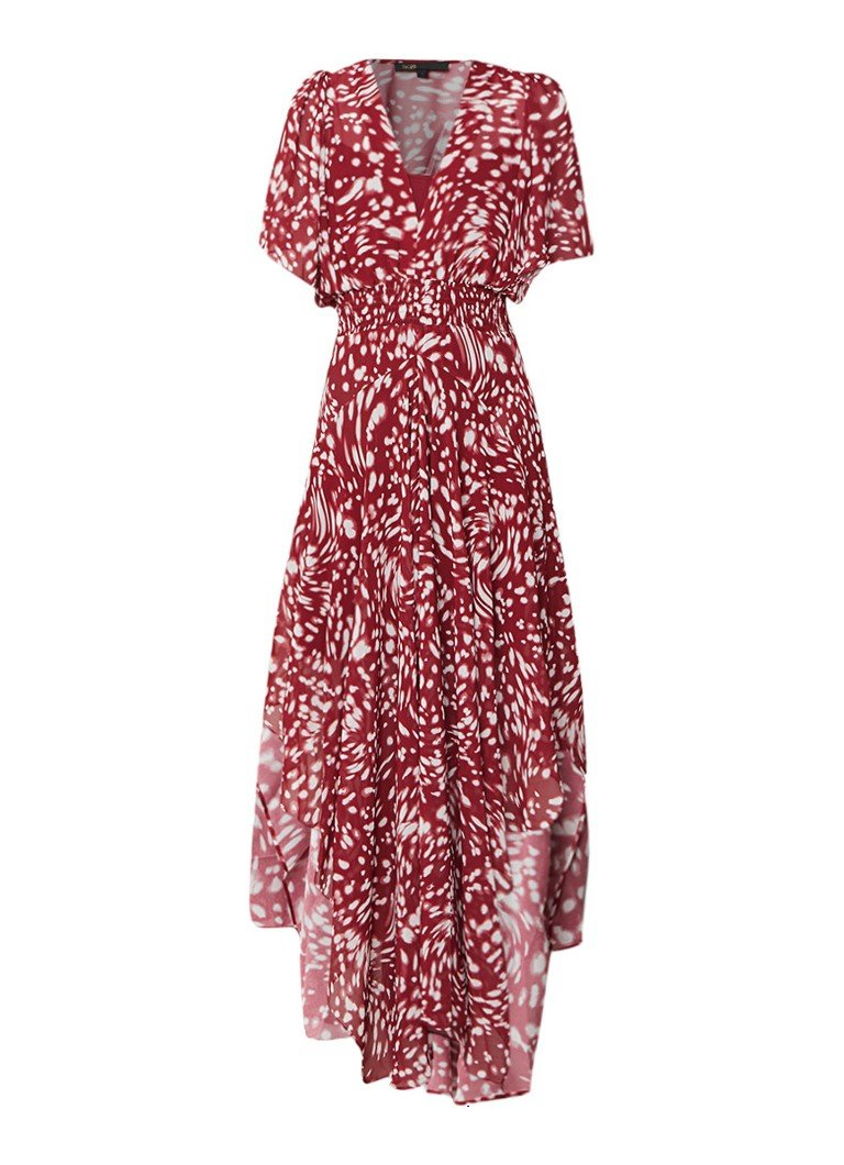 Maje Richelle asymmetrische maxi-jurk met dessin donkerrood
