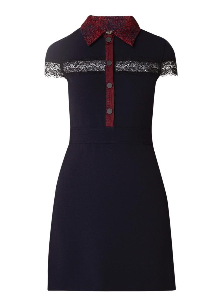 Maje Loid mini-jurk met detail van kant donkerblauw
