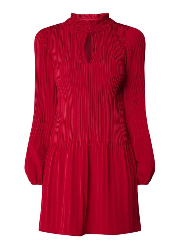 Maje Rockally mini-jurk met plissé en keyhole kersenrood