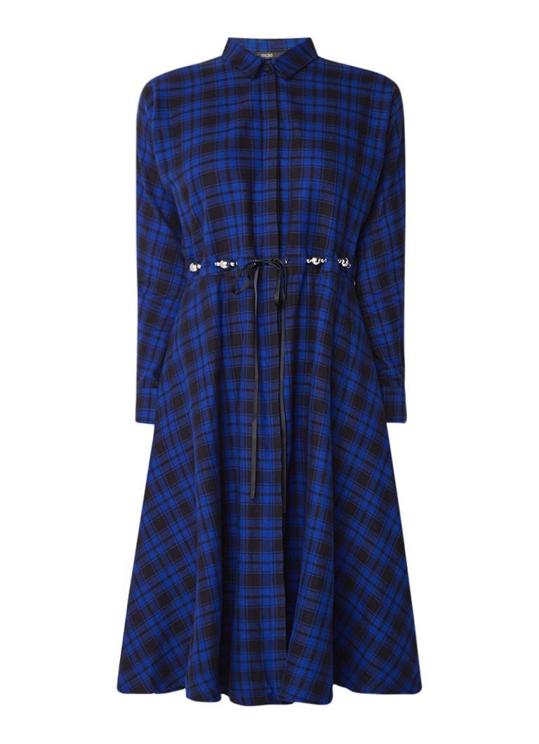 Maje Rebel blousejurk van katoen met ruitdessin royalblauw