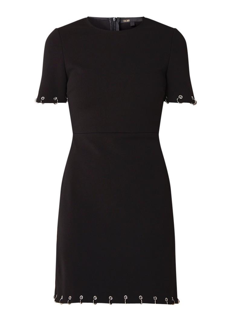 Maje Risis A-lijn jurk met eyelets zwart