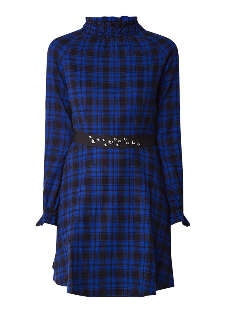 Maje Rivine A-lijn jurk met ruitdessin en strikceintuur royalblauw