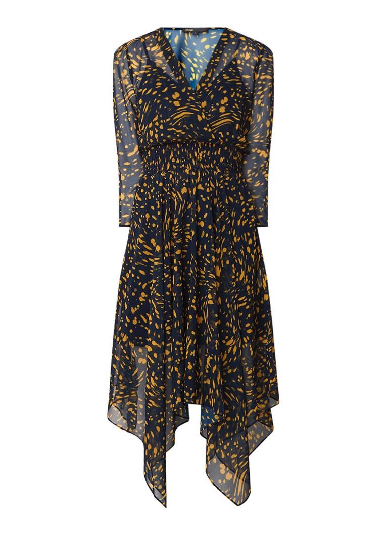 Maje Rayem midi-jurk met gesmockt detail en dessin donkerblauw