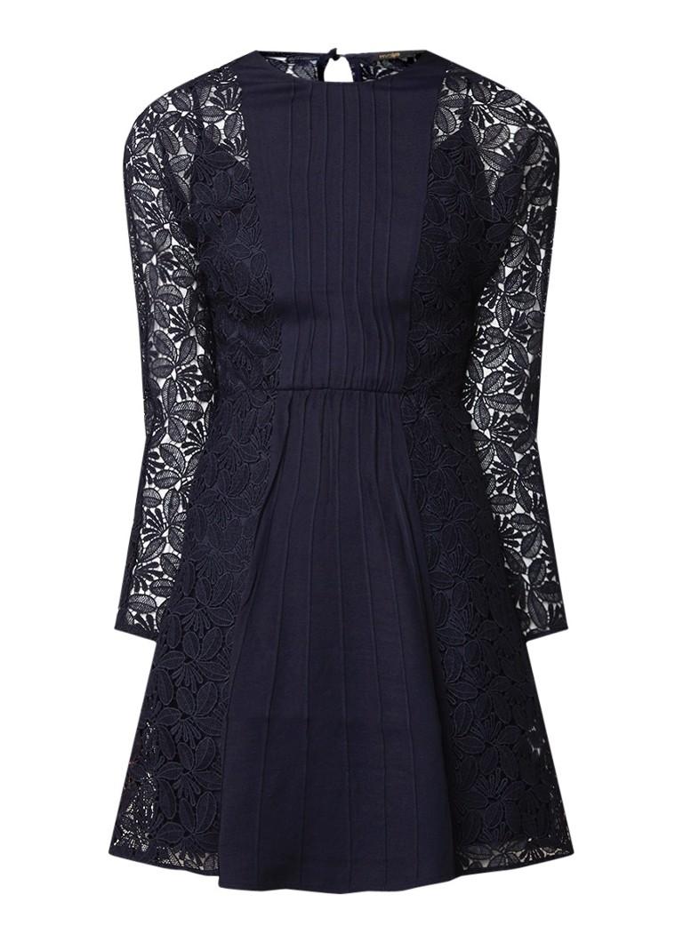 Maje Repine mini-jurk van guipure kant en crêpe donkerblauw