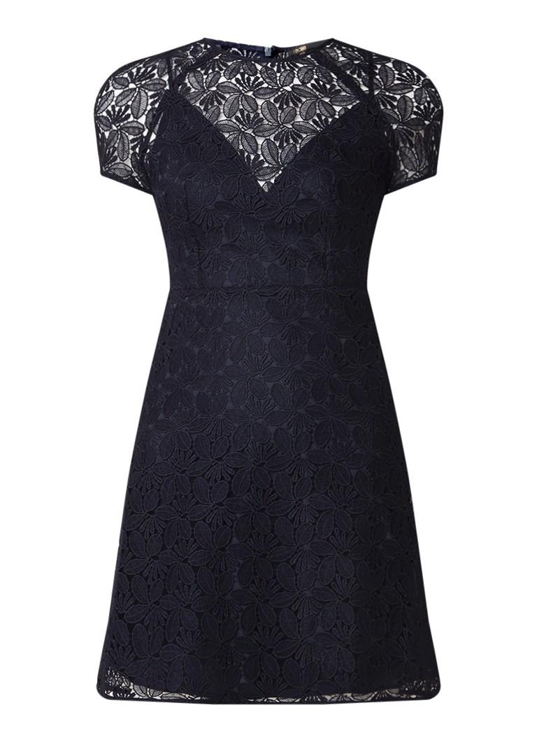 Maje A-lijn jurk van gebloemd kant met korte mouw donkerblauw