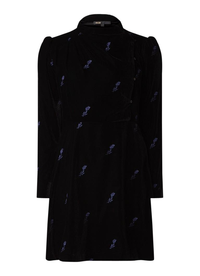 Maje Ripicow mini-jurk van fluweel met bloemborduring zwart