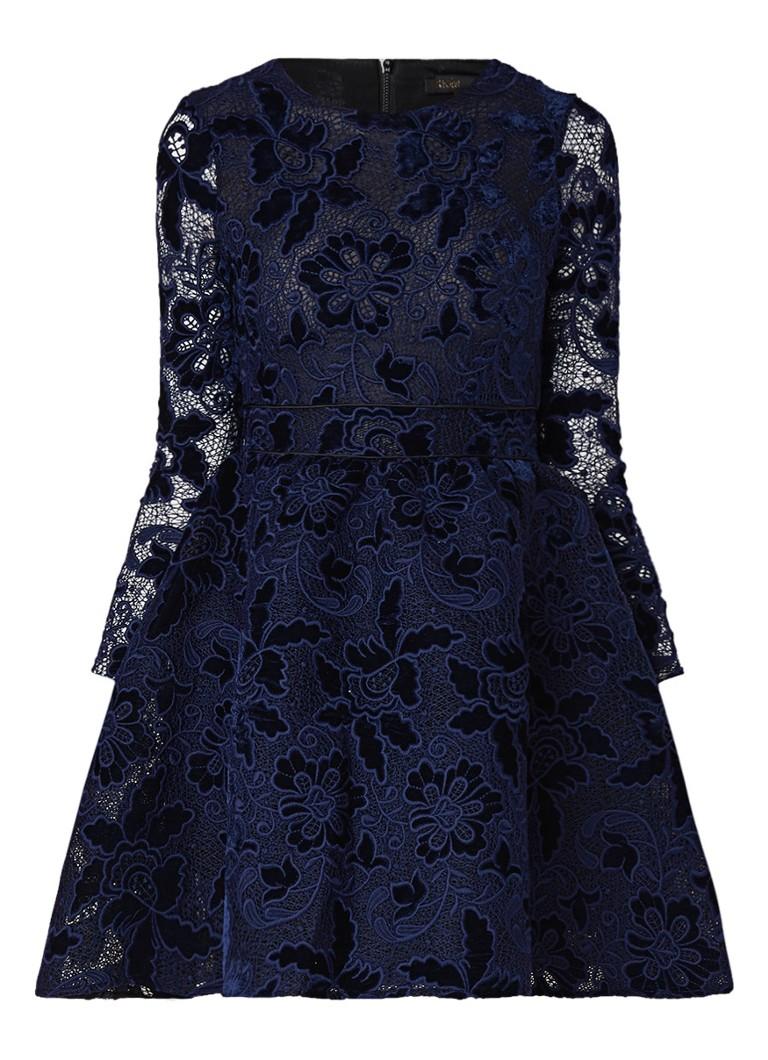 Maje Role A-lijn jurk van kant met detail van fluweel donkerblauw