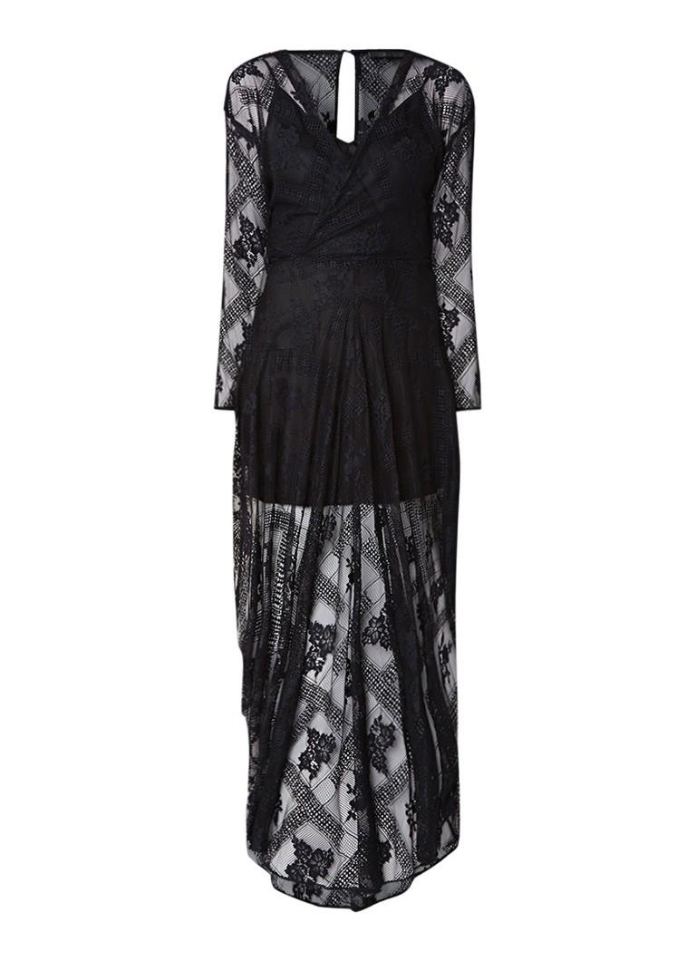 Maje Riletta maxi-jurk van kant met onderjurk zwart