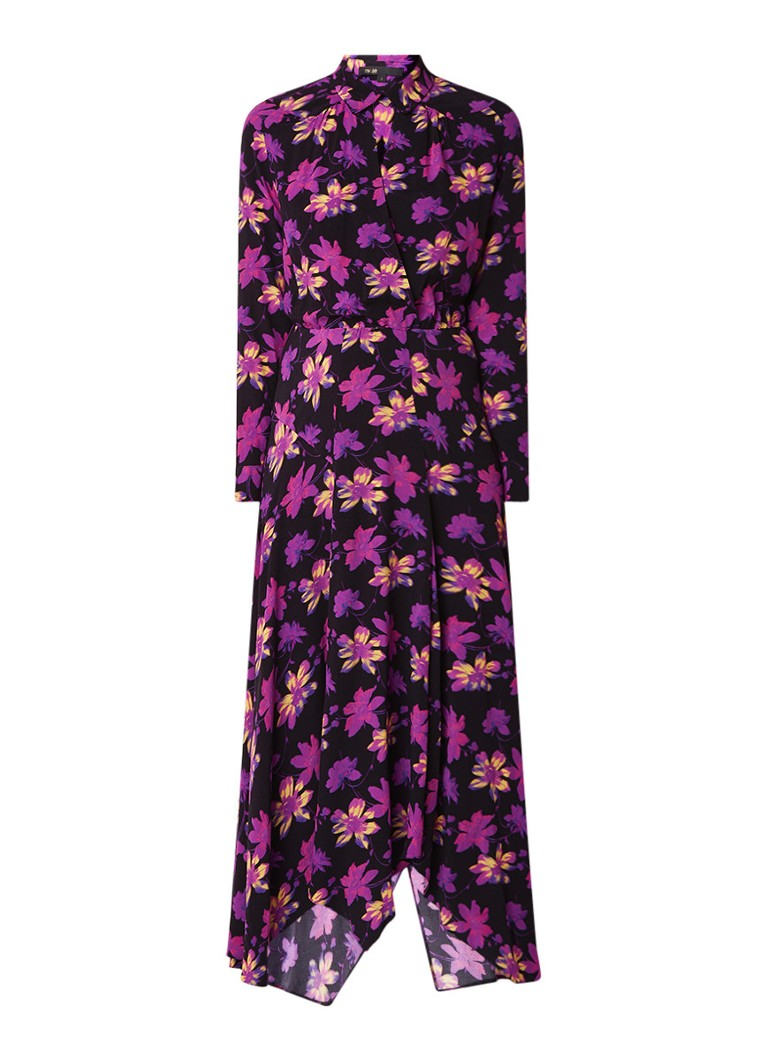 Maje Ritunia maxi-jurk met bloemendessin en overslag paars