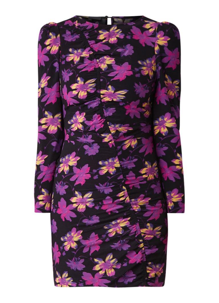 Maje Samar mini-jurk met bloemendessin en gerimpeld detail zwart