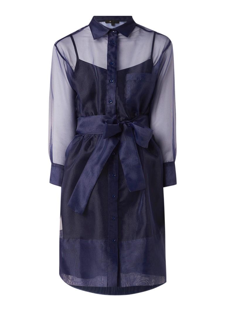 Maje Revani semi-transparante blousejurk met strikceintuur donkerblauw