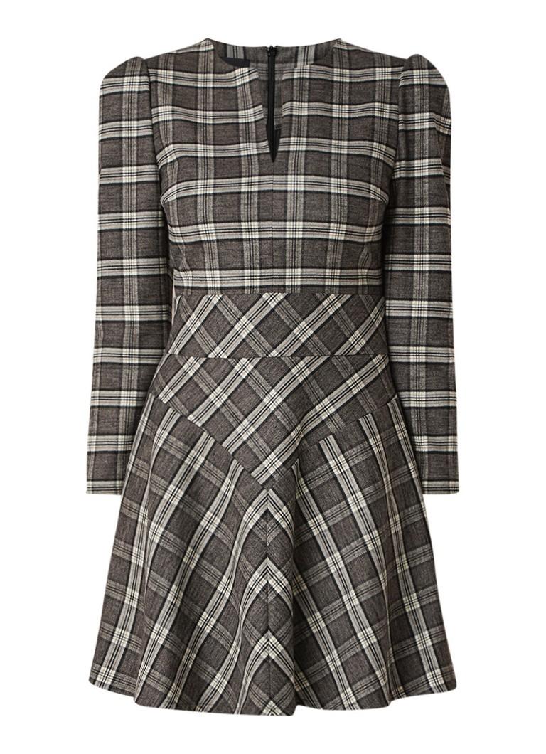 Maje Rity A-lijn jurk in wolblend met ruitdessin donkerbeige