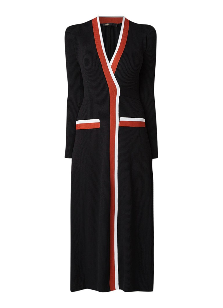 Maje Brosiana fijngebreide maxi-jurk met overslag zwart