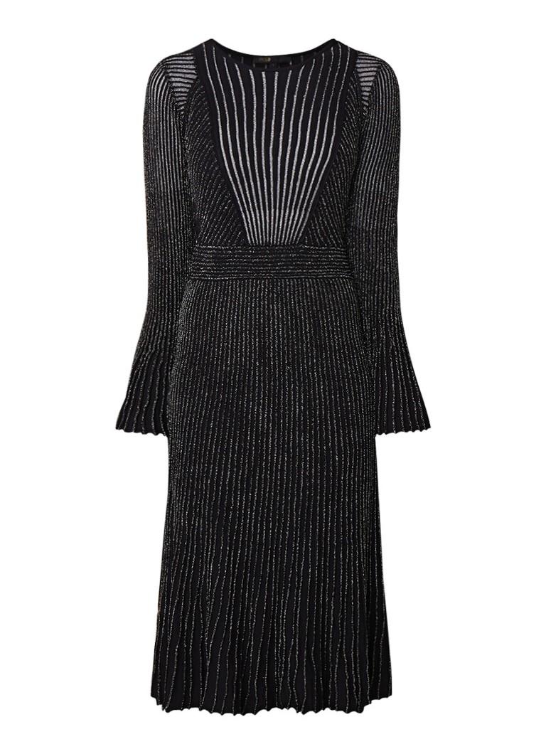 Maje Ribgebreide midi-jurk met lurex en trompetmouw zwart