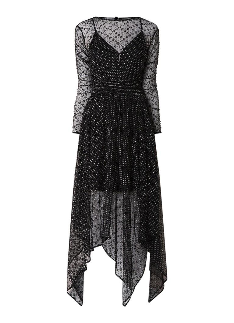 Maje Relena semi-transparante midi-jurk met stippendessin zwart