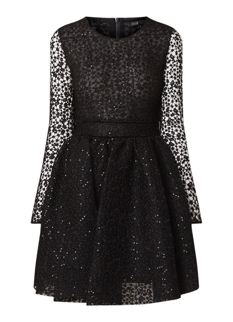 Maje Rapido semi-transparante A-lijn jurk met pailletten zwart