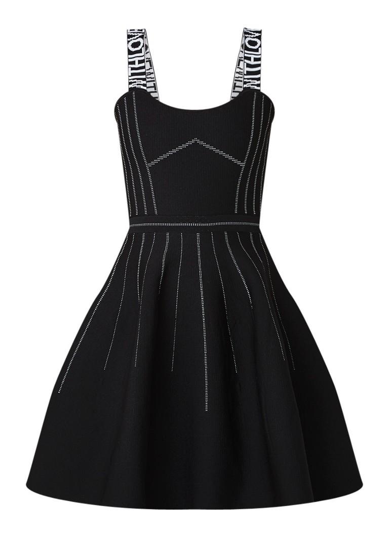 Maje Relief mini A-lijn jurk van neopreen met contrastbies zwart