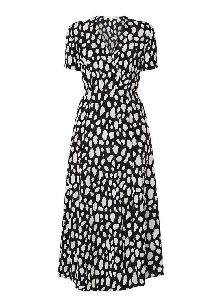 Maje Riline tuniekjurk van crêpe met dessin zwart