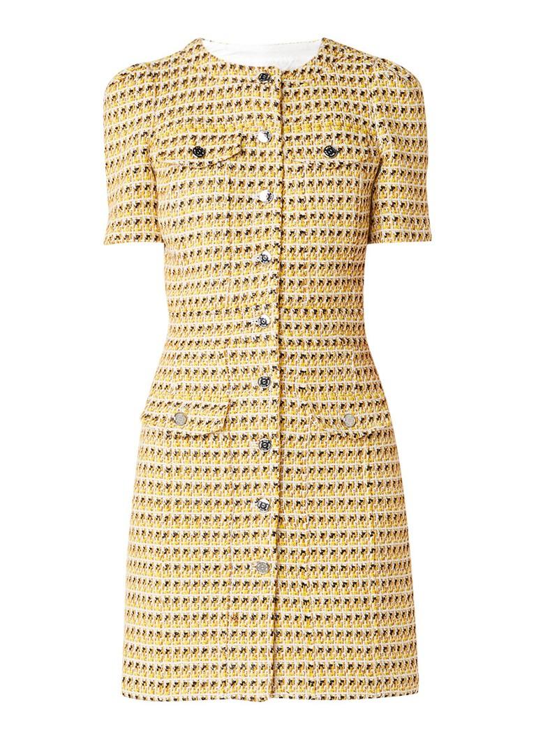 Maje Rill grofgebreide jurk met klepzakken geel