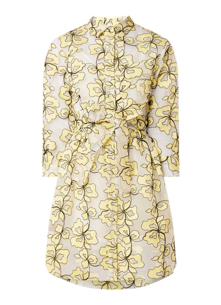 Maje Reality Organza semi-transparante blousejurk met bloemendessin geel