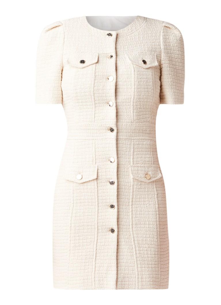 Maje Illio mini-jurk van tweed met borstzakken creme