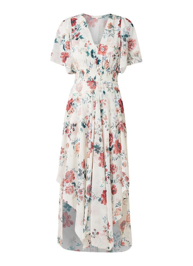 Maje Rachelle asymmetrische midi-jurk met smockwerk gebroken wit
