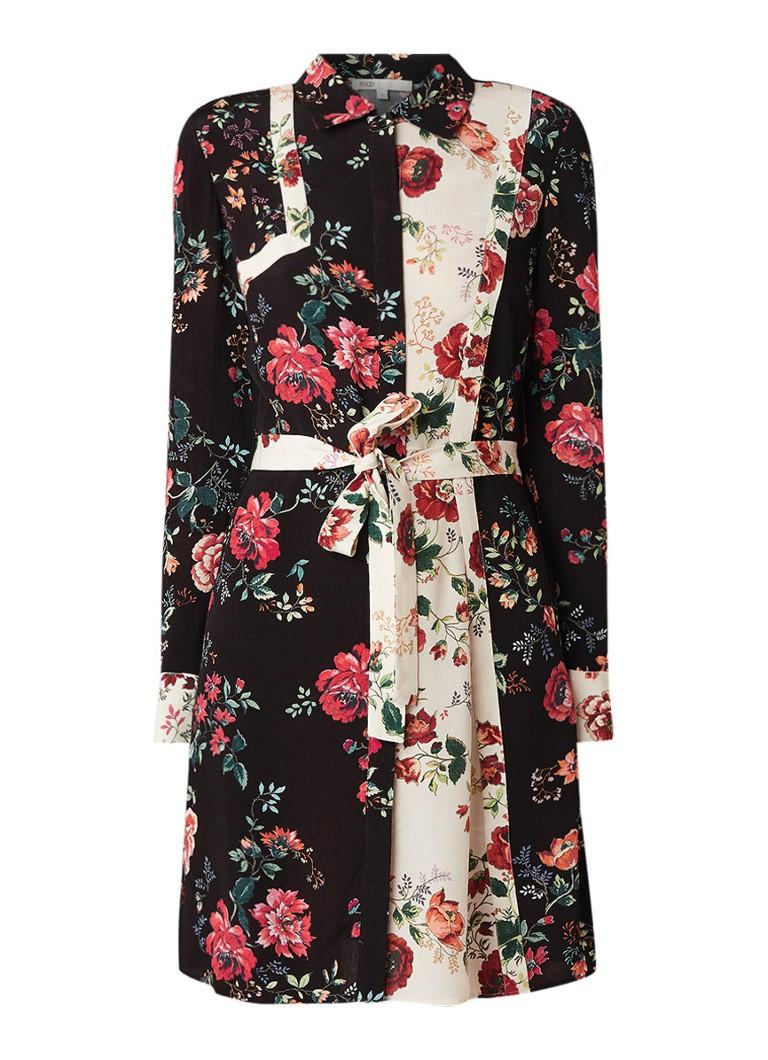 Maje Blouse jurk van crêpe met bloemendessin en wikkelceintuur zwart