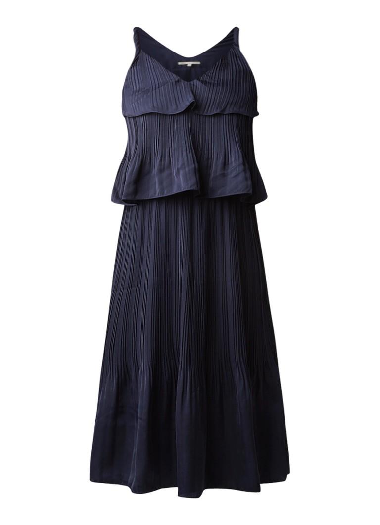 Maje Rockanill midi-jurk met overlay en plissé donkerblauw