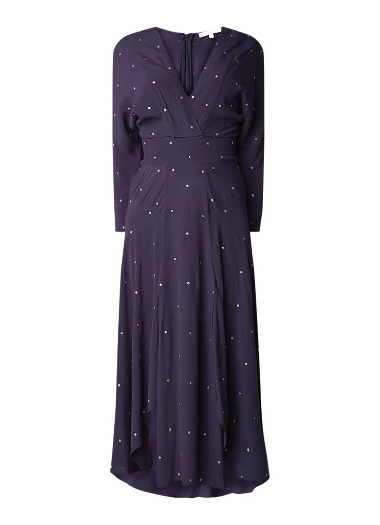 Maje Rolene maxi-jurk van crêpe met stippendessin donkerblauw