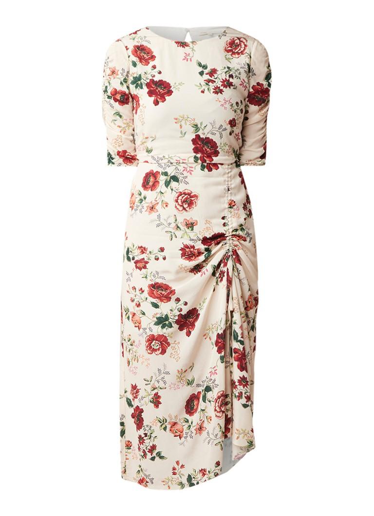 Maje Rondi midi-jurk met aangerimpelde details ivoor