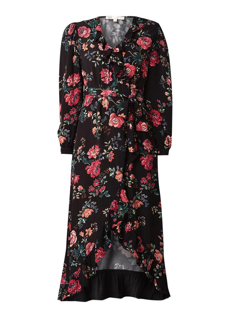 Maje Rosetina wikkeljurk met bloemendessin zwart