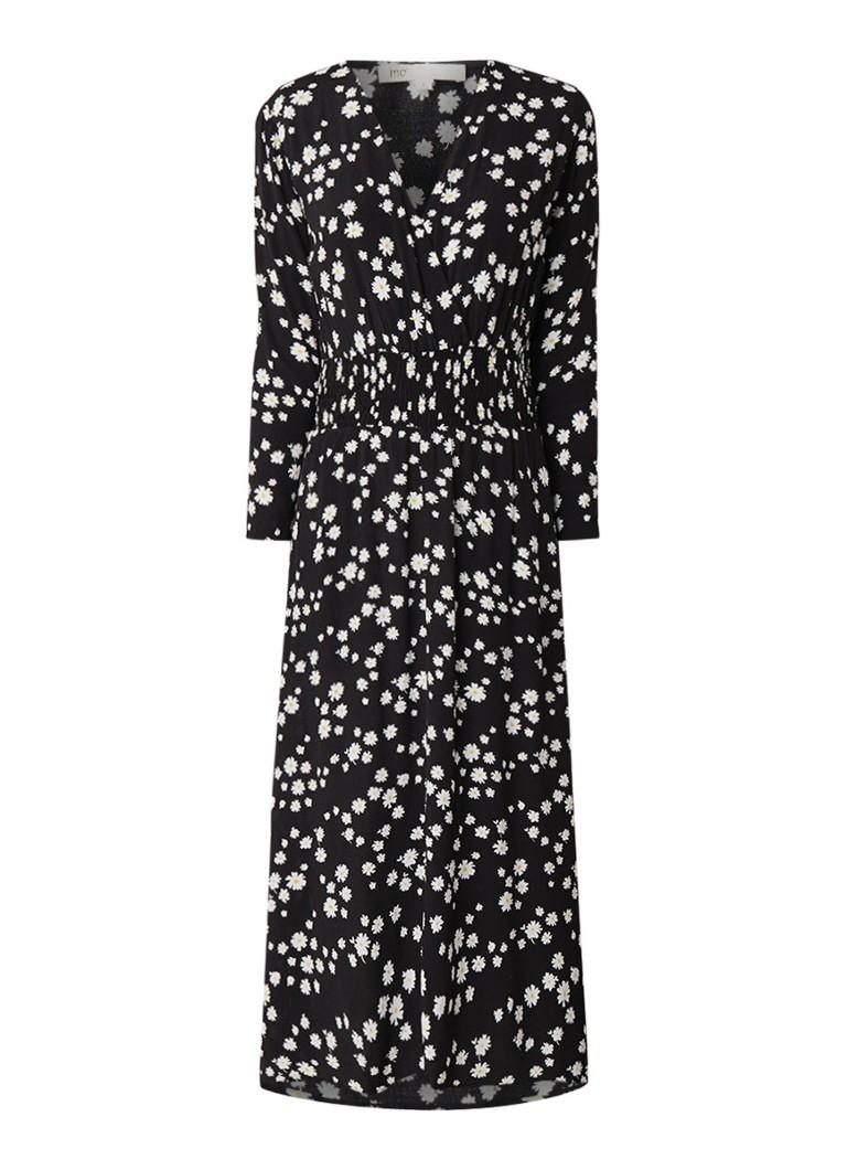 Maje Rosila maxi-jurk met bloemendessin en smockwerk zwart