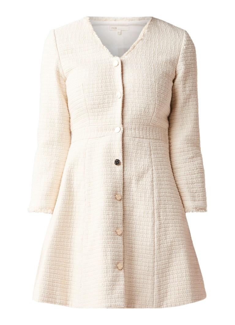 Maje Ryzer A-lijn jurk van tweed met gerafelde zoom creme