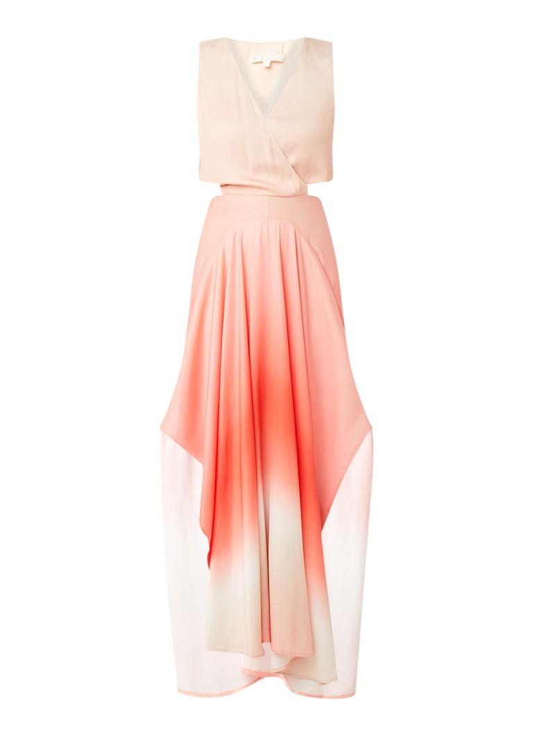Maje Resia maxi-jurk met ombre kleurverloop en cut-out details koraalrood