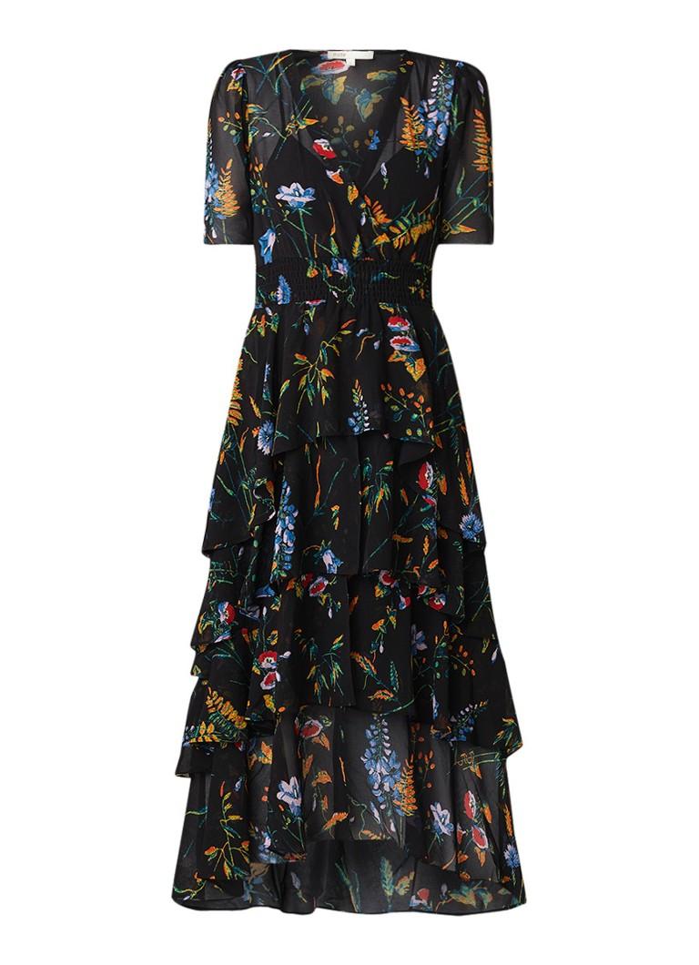 Maje Ruffle maxi-jurk met bloemendessin en volant zwart