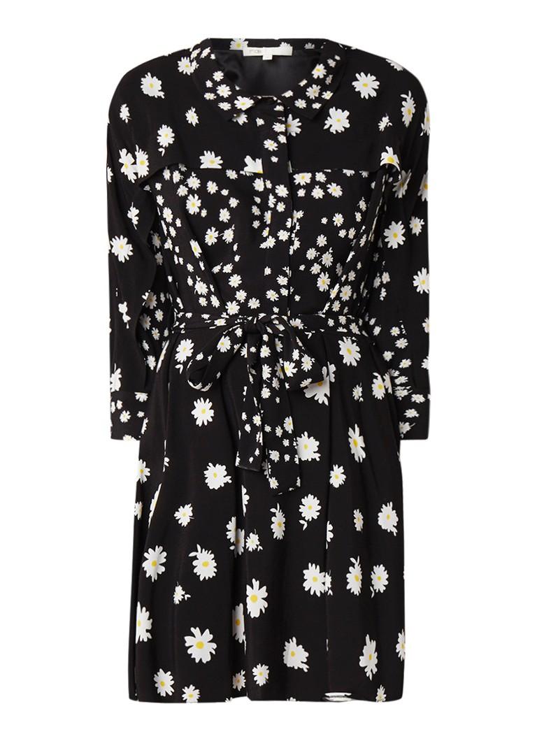 Maje Rafi blousejurk van crêpe met bloemendessin zwart