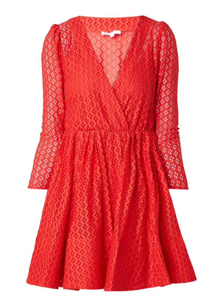 Maje Ralina A-lijn jurk van guipure kant rood