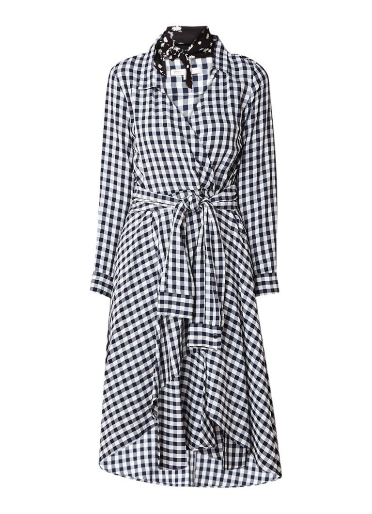 Maje Raprita A-lijn midi-jurk met ruitdessin en strikceintuur zwart