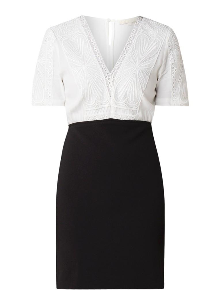 Maje Trompe L'Oeil mini-jurk met broderie gebroken wit