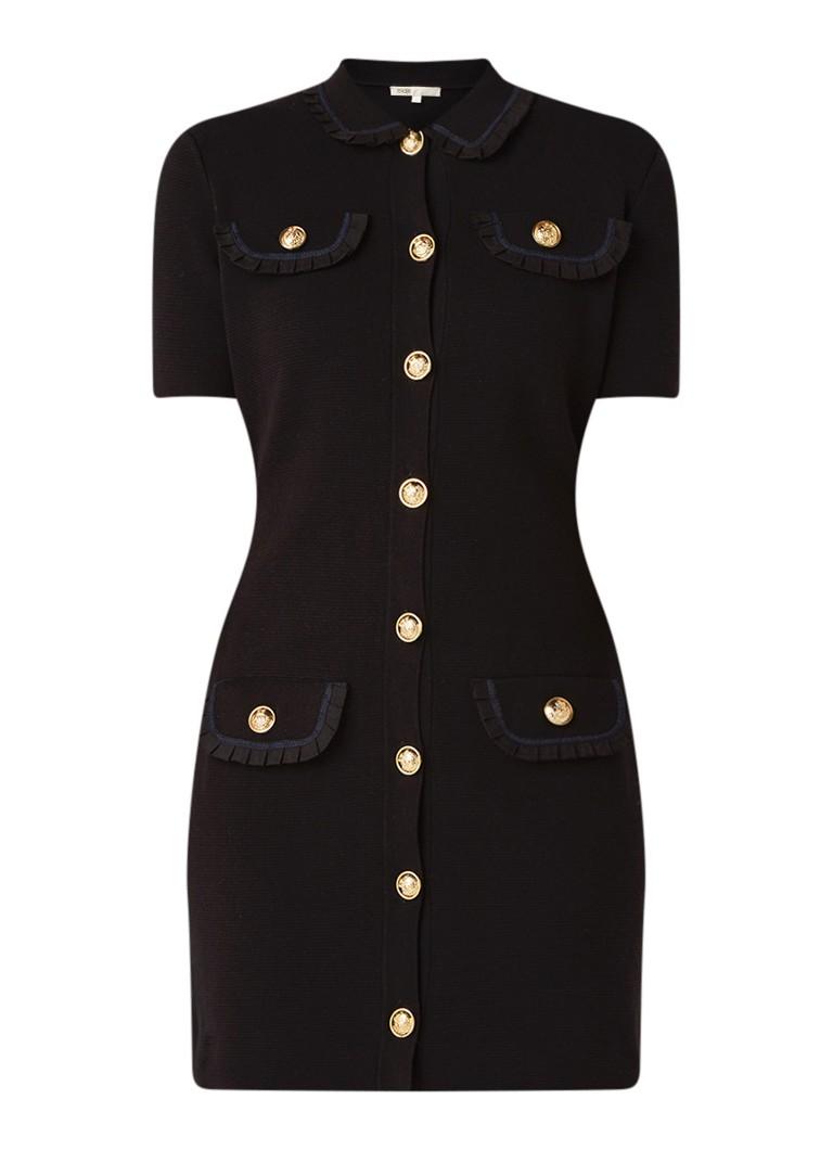 Maje Ravena fijngebreide mini-jurk van katoen zwart
