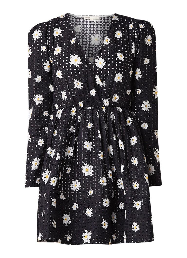 Maje Rayom mini-jurk met broderie en bloemendessin donkerblauw