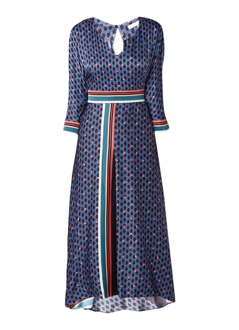 Maje Reanne maxi-jurk van satijn met dessin donkerblauw