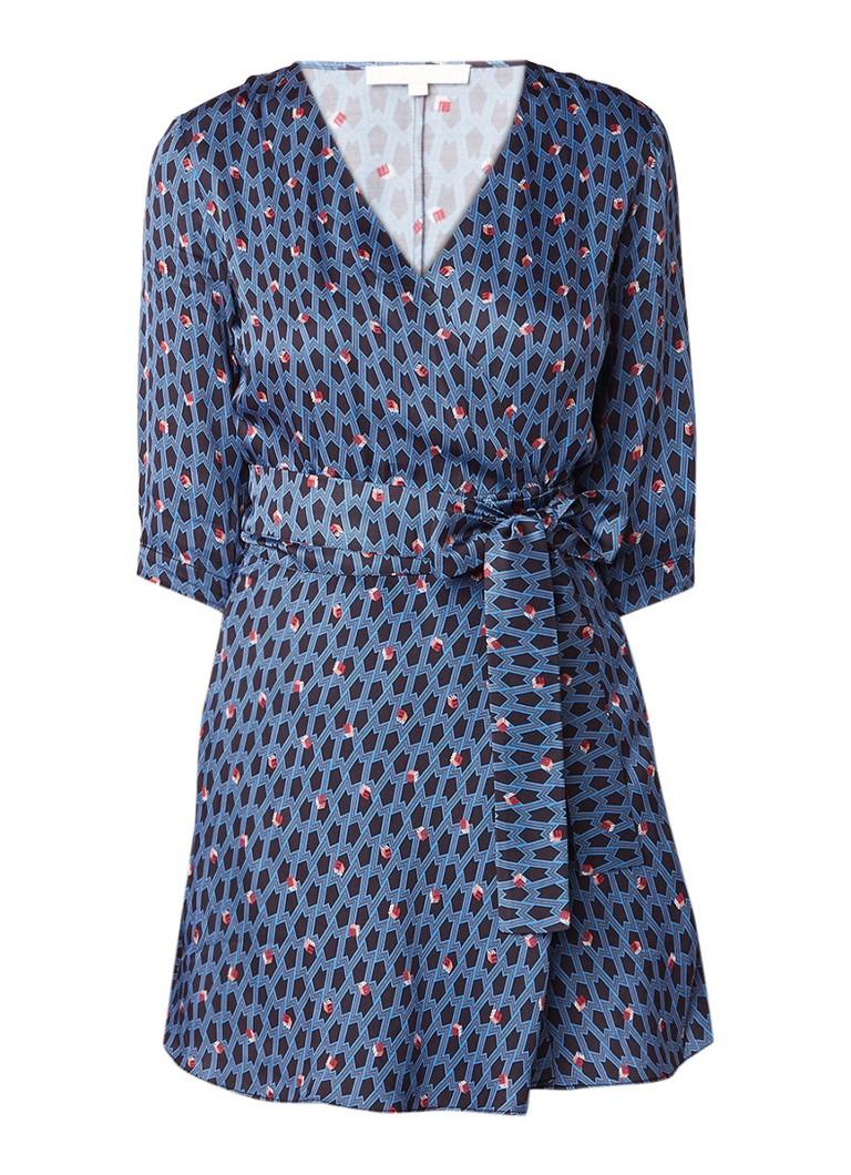 Maje Mini-jurk met overslag en strikceintuur donkerblauw