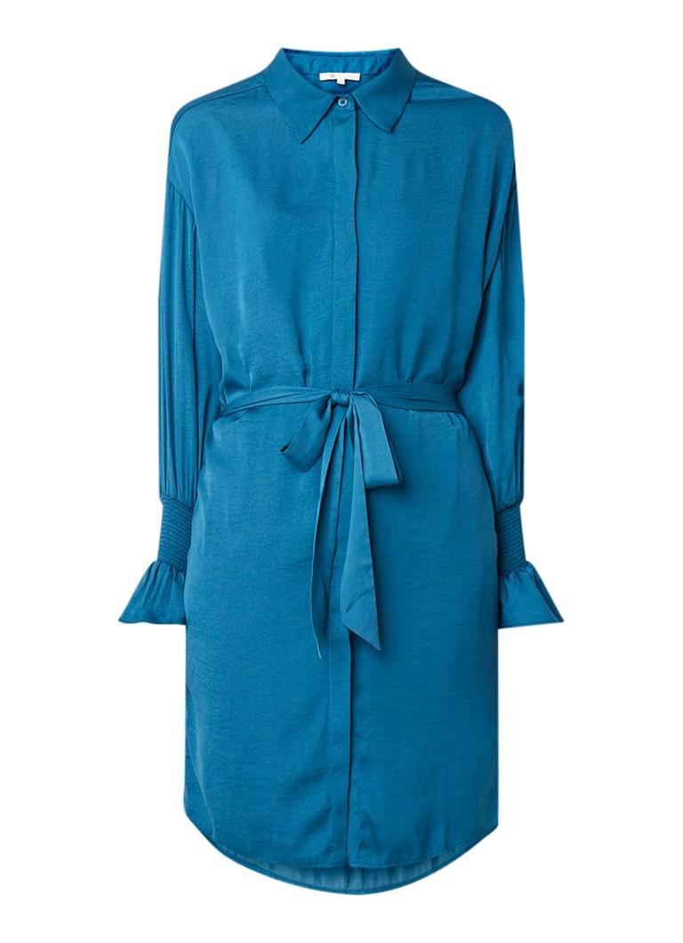 Maje Rebano blousejurk van satijn met strikceintuur turquoise