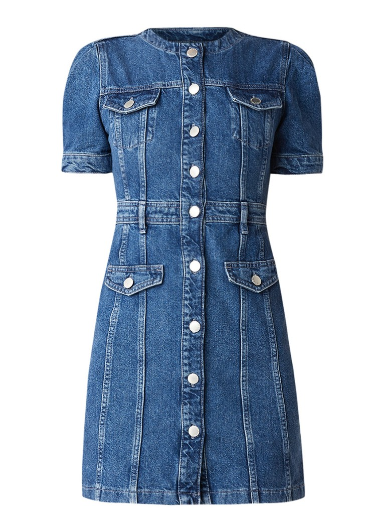 Maje Elvira jurk van denim met knoopsluiting indigo