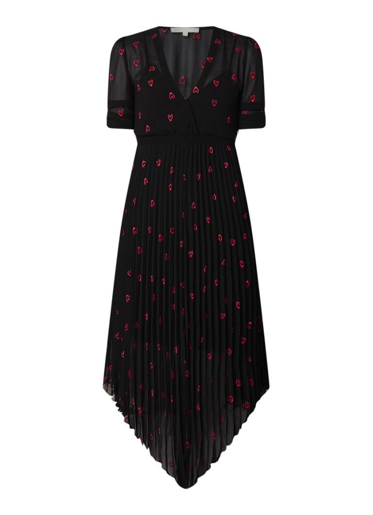 Maje Rengo plisséjurk met harten borduring zwart