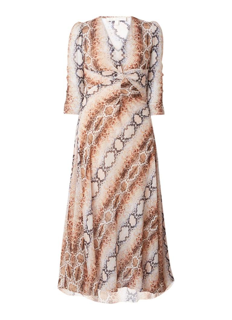 Maje Repena maxi-jurk met slangenprint beige
